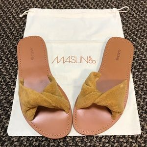 Maslin & Co Terry Cloth Twisted Sandal Slides